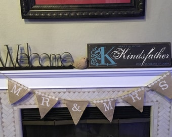 Mr and Mrs Burlap and Daisy Party Banner