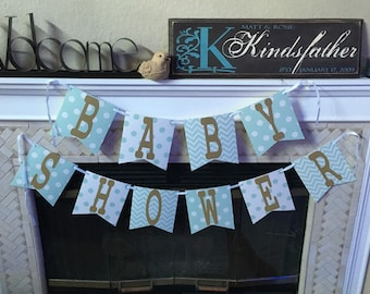Mint and Gold Baby Shower banner