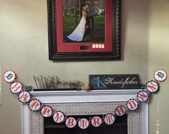 Happy Birthday baseball banner