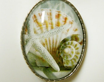 Starfish and shell pendant with chain - SAP09-008