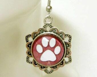 Dusty rose paw print earrings - PPE07-025