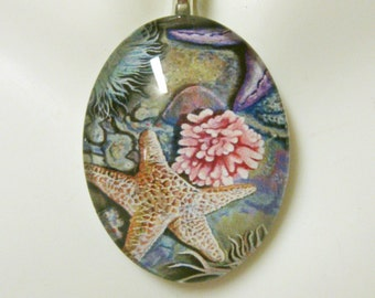 Starfish and anemone pendant and chain - SGP12-005 blue