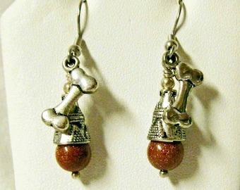 Dog bone earrings with goldstone - E3023-05