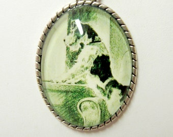 Terrier waiting at the window pendant with chain - DAP09-525G