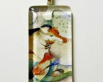 Franz Marc horse art pendant and chain - HGP02-018