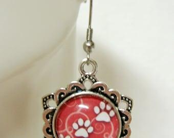 Salmon pink paw print earrings - PPE07-018