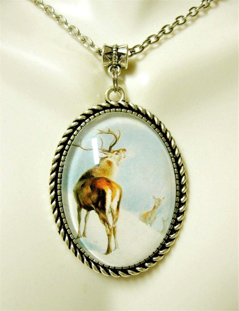 WAP09-059 Deer famiiyy in he snow pendant with chain