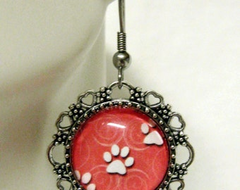 Salmon pink paw print earrings - PPE07-007