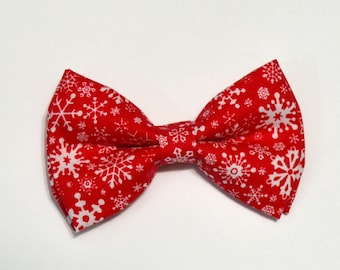 Christmas Bow tie Red with White Snowflakes Christmas Bow Tie For Boy, boy bow tie, baby bow tie, adult bow tie, men's bow tie,