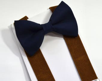 Navy bow tie and LIght Brown Suspender Set boys bow tie adult bow tie baby bow tie men's bow tie brown suspender groomsmen bow tie wedding