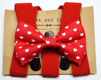 4f66daa52c9 Red and White Heart bow tie and Red Suspender Set for  baby