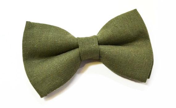 groomsmen tie wedding tie,olive  green tie green  tie for men wedding bow tie linen bow tie Olive green  bow tie