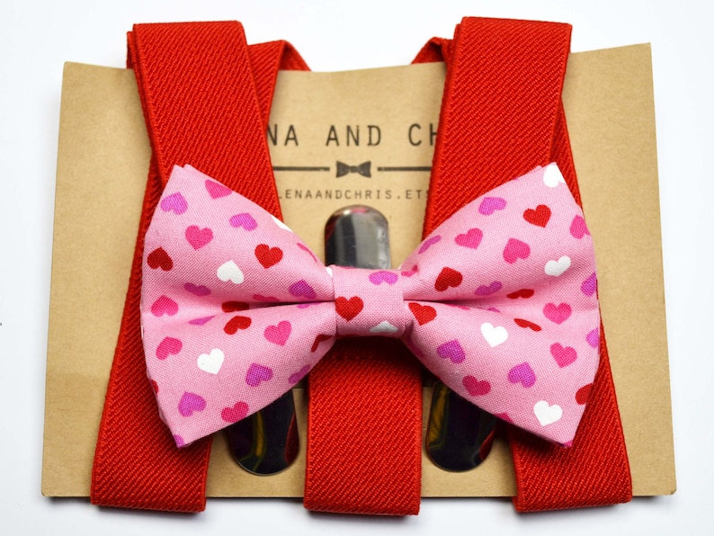 Pink Heart bow tie and Red Suspender Set for baby,boy,children,men,adult,Christmas,red bow tie Heart bow tie Valentine/'s Day