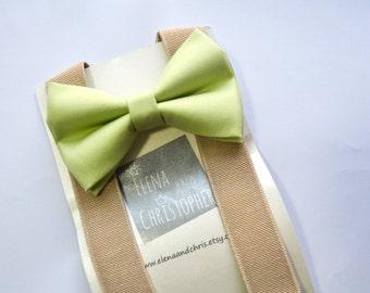 Green tea bow tie and Beige Suspender Set , boys bow tie, infant bowtie,toddler bowtie,mens bowtie,groomsmen bowtie,adult bow tie