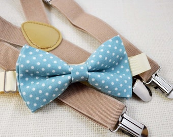 Dusty blue with white dot bow tie and Beige Suspender Set, boys bow tie, baby bowtie,mens bowtie,groomsmen bowtie,adult bow tie,