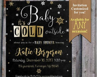 Snowflake Baby Shower Invitation | Baby it's Cold outside | Gender Neutral | Winter | Black and Gold | Glitter |  digital file, PDF