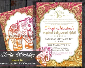 sweet 16 sixteen birthday bollywood invitation indian invite middle eastern invitation elephant henna design