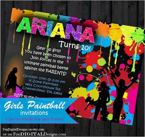 girls birthday paintball party invitation birthday party girls