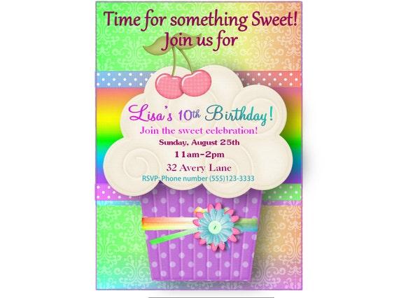 Cupcake Birthday Invitation Rainbow Sweet 1st First 2nd Any Age PRINTABLE DIY Digital Purple