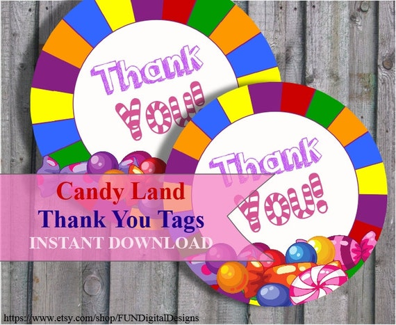 Thank You Tags For Candyland Birthday Party Favor Candy Land Etsy