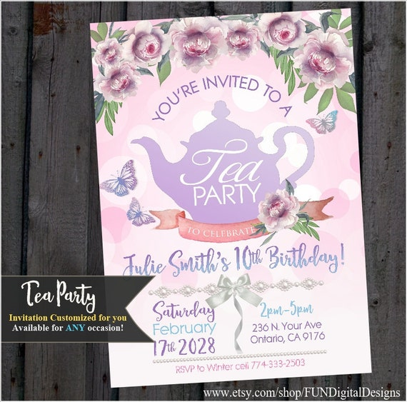 Tea Party Invitation, Garden Party, Bridal shower, Girl Birthday Party, Baby Shower, Pink Gold, marie antoinette, Printable