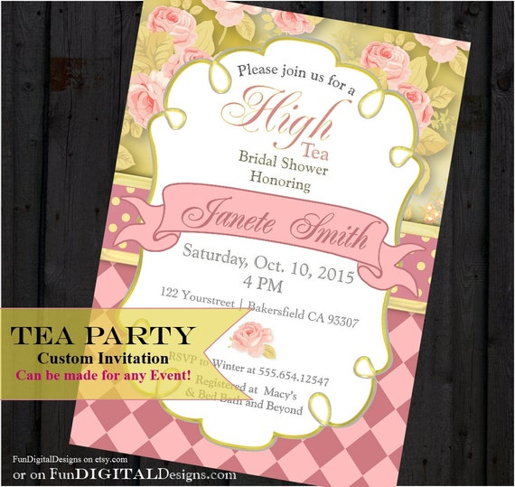 Victorian Rose High Tea Party Invitation, Garden Party, Bridal shower, Birthday Party, Baby Shower, Pink Gold, marie antoinette, Printable