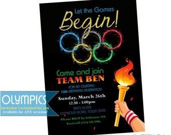 Olympics birthday invitation with Torch Olympic Birthday Invitation, printable, digital file, DIY