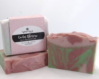 CACTUS BLOSSOM Soap, Silk, Shea, Handcrafted, Natural Homemade Soap, Cold Process, Presents for Mom