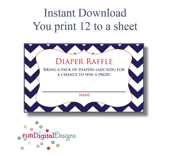 diaper raffle tickets printable digital file diy for your etsy
