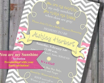 You Are My Sunshine Baby Shower Invitation in It's a Girl! PINK Yellow and Grey Gray - Chevron Stripes - DIY - Printable
