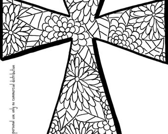 Christian Coloring Book Page- Cross