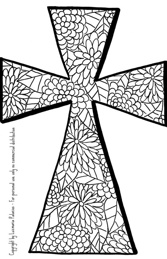 Cristiano para colorear libro página Cruz   Etsy