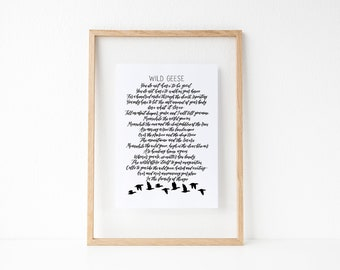 Wild Geese print - Mary Oliver print - Hand lettered print - Poem print - Type by Alice