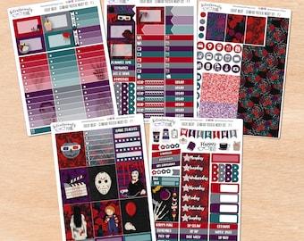 Fright Night Film Club Sticker Kit - Standard Vertical, Hobo Weeks, PP Weeks, Mini & Classic HP, Hobo Cousin - Planner Stickers