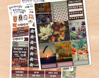 Autumn Remembrance Photo Weekly Sticker Kit - Standard Vertical, Hobo Weeks, PP Weeks, Mini & Classic HP, Hobo Cousin - Planner Stickers