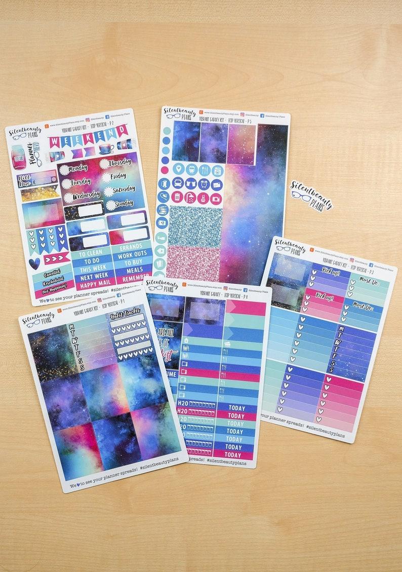 Vibrant Galaxy Sticker Kit UK Vertical EC Life Planner Vertical Planner Stickers