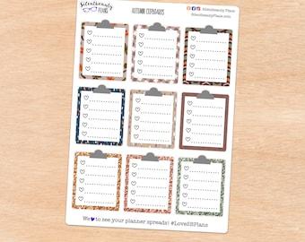 Clipboard Checklist Stickers - Full Box Planner Stickers - UK Stickers for Planners