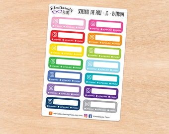 To Schedule Social Media Post Stickers - 10 Options - Standard Vertical Stickers - Planner Stickers, UK