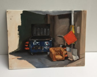 Garbage pile in oil paint on panel