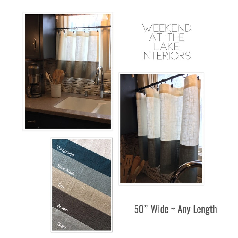 5 Color Options Any Length. 50 Wide Gray Border Linen Curtain Panel Cafe Curtain Panel or Curtain Valence