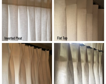 Linen Cafe Curtains, Includes 2 panels, Fully Lined, Choose Pleat option, Additional Color Choices