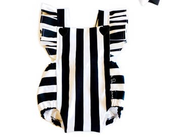 Black and White Stripe Romper / Baby Romper / Girls Romper