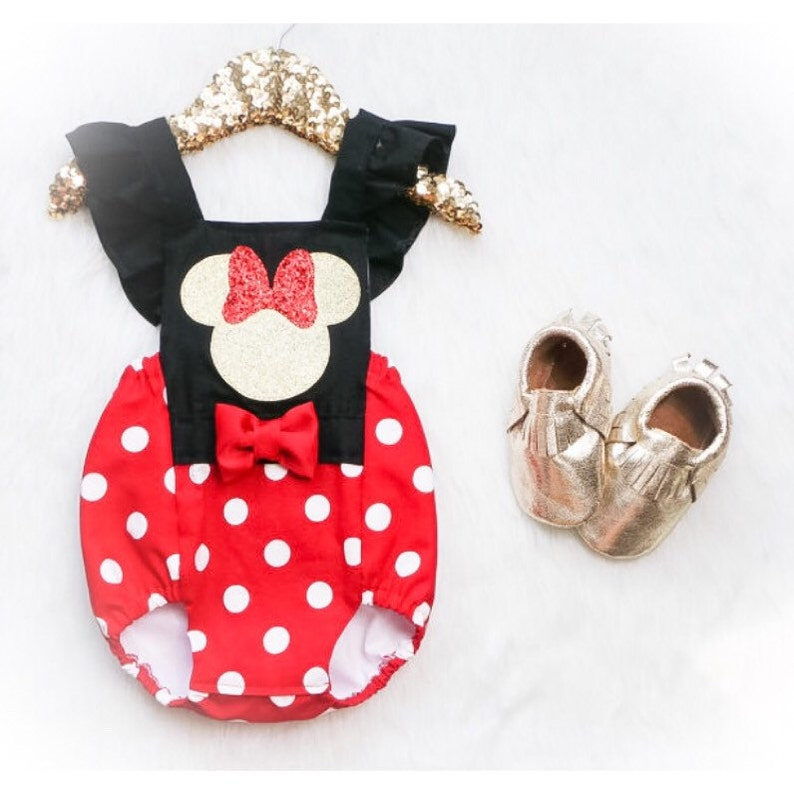 9448171962ae Minnie Mouse Romper baby romper toddler romper Minnie