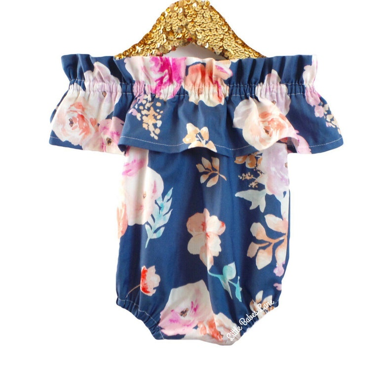 ea2abe19df4 Floral Romper baby romper toddler romper off the shoulder