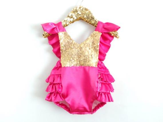 1dda8525e Hot Pink Ruffle Romper / Baby Girl Romper / Princess Romper / | Etsy