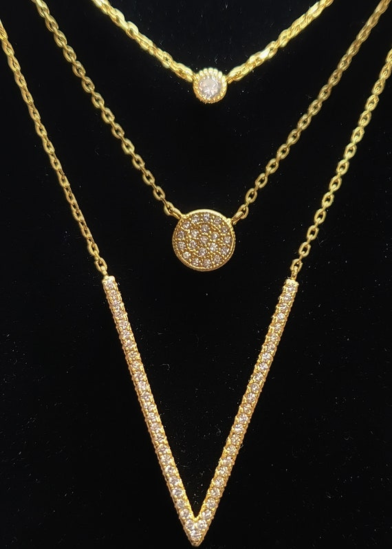 14 Karat Gold Plated Triple Strand Necklace with CZs 925 Sterling Silver
