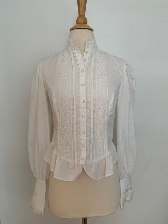 Gunne Sax Victorian Revival Blouse with Buttons an