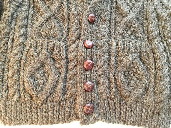 Vintage Child's Hand Knit Irish Aran Wool Cardiga… - image 5