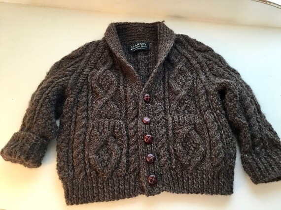 Vintage Child's Hand Knit Irish Aran Wool Cardiga… - image 3