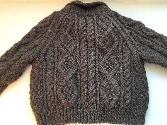 Vintage Child's Hand Knit Irish Aran Wool Cardiga… - image 8